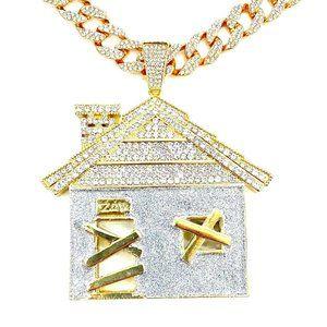 "Iced Trap House Pendant w/ 24"" Iced Cuban Chain"